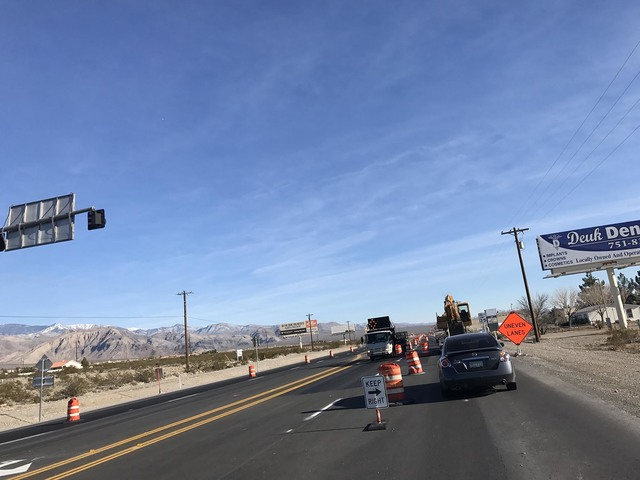 Widening work on a 1.75-mile-long portion of Highway 160 in town is set to halt until the warm weather in spring, according to the Nevada Department of Transportation. Mick Akers/Pahrump Valley Times