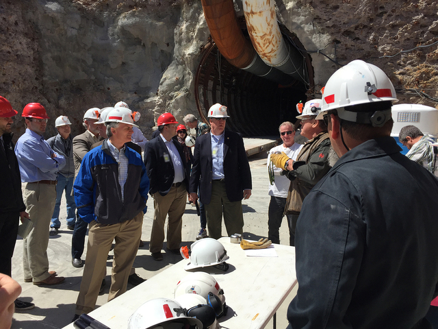 Congressmen, staff, journalists and Department of Energy employees receive instructions prior to a congressional tour of the Yucca Mountain exploratory tunnel April 9, 2015.  Arnold M. Knightly/Pa ...