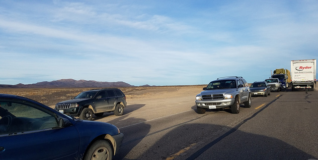 Traffic moves slowly through a road construction area west of Tonopah as shown in a Dec. 14 photo. The project is being led by the Nevada Department of Transportation. The work is occurring along  ...