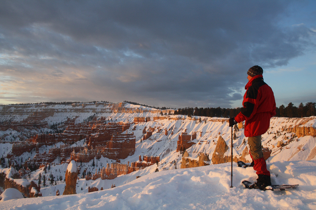 Snowshoeing and cross-country skiing are the most popular ways to travel along the rim in winter.  Deborah Wall/Special to the Pahrump Valley Times