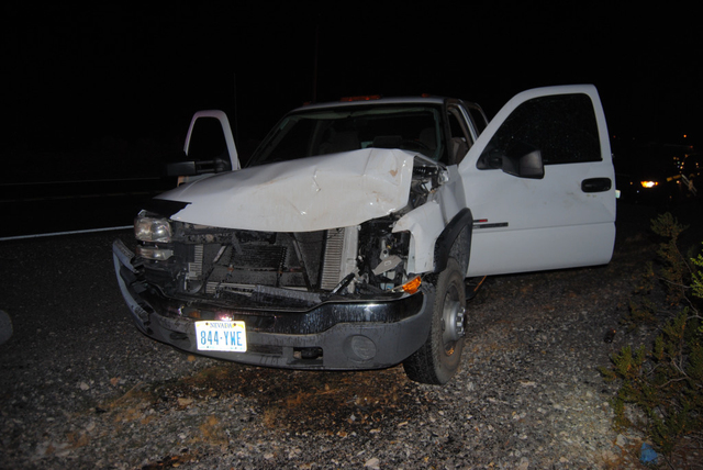 A full-size pickup truck sustained major front-end damage after colliding with a wild horse on Highway 160 near Bell Vista Avenue. Though the driver was uninjured, the pregnant horse died on impac ...