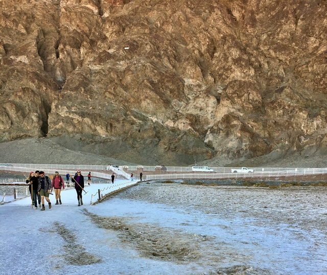 Areas of the salt flats in Badwater in Death Valley National Park have been damaged by off-road vehicles in the past month.  Courtesy of the National Park Service