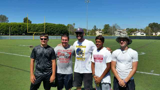 Pahrump football players attend Nick Hardwick football camp in San Diego. From left to right: Morgan White, Jeremy Albertson, Nick Hardwick former San Diego Charger, Jacob Sawin and Dylan Coffman.