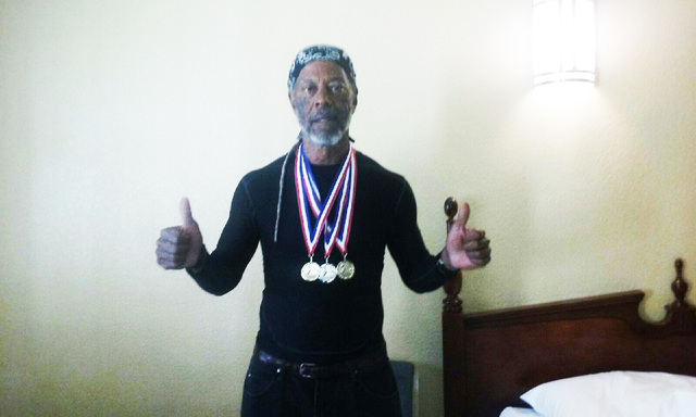 Marvin Caperton displays his medals won at recent senior competitions.  Special to the Pahrump Valley Times