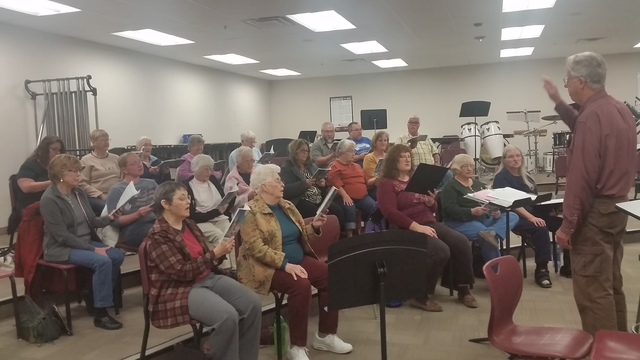 The Pahrump Arts Council sponsors this choral group, seen practicing at the high school last Thursday for their Christmas concert at the Pahrump Nugget on Dec. 7. The High Desert Chorale practices ...