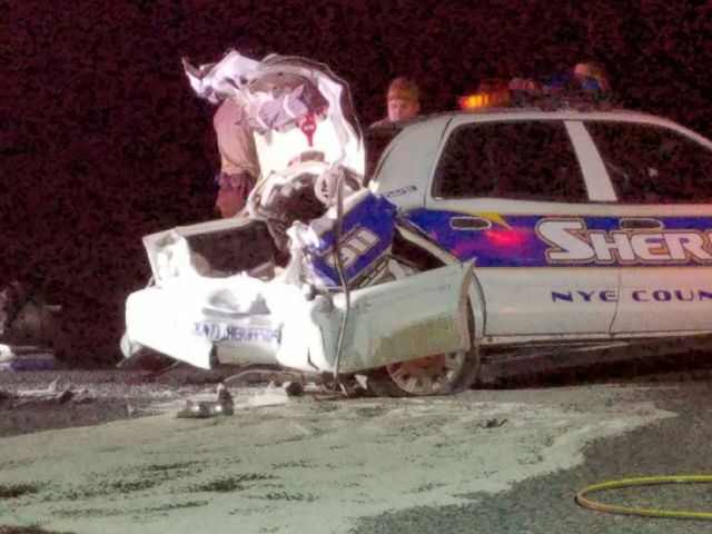 A Nye County Sheriff's deputy suffered minor injuries Christmas evening after his patrol car was rear-ended by a motorist. A third vehicle trying to avoid the scene struck the citizen's vehicl ...