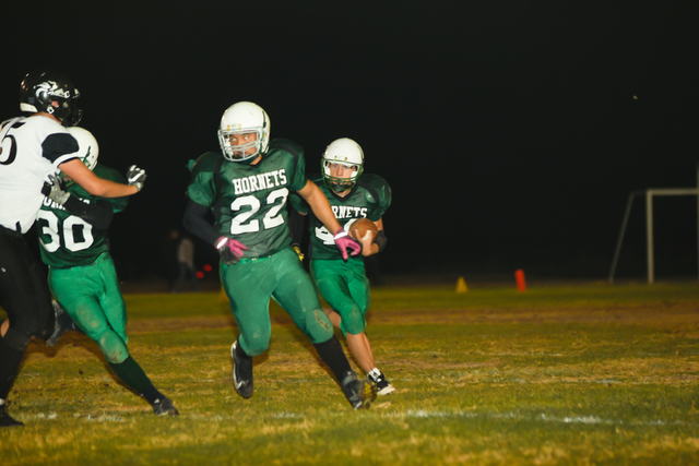 Fullback Hugo Mendoza blocks for running back Michael Olson during the homecoming game, where Beatty blanked Round Mountain 58-0.  Skylar Stephens/Special to the Pahrump Valley Times