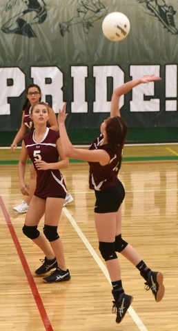 Richard Stephens / Pahrump Valley Times Adreanna Sandoval gives the ball a whack against Beatty.