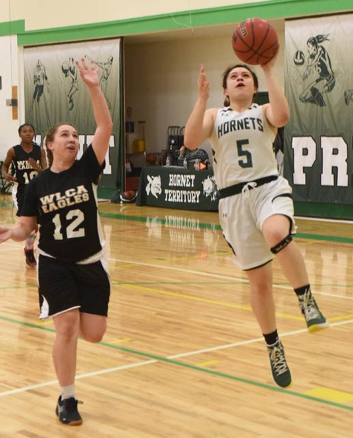 Senior Lexi Gil takes the ball to the basket for a layup against Word of Life on Jan. 24. Gil has played four years against the Panthers without a win and would like to win in her senior year. She ...