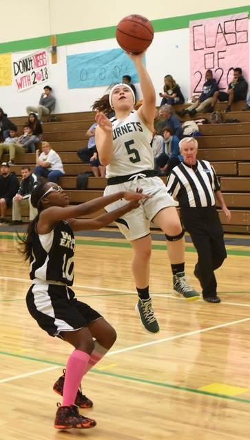 Lexi Gil was in playoff mode as she scored a personal high of 28 points against Word of Life on Wednesday at home. The Hornets defeated the Eagles, 65-28.  Richard Stephens / Pahrump Valley Times