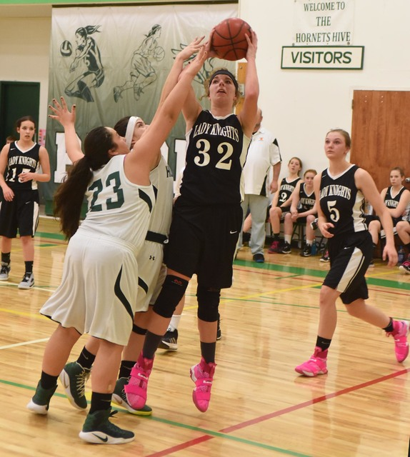 Star Knights player Alyssa Hanks, had a double-double for the Knights, scoring 28 points and 19 rebounds against the Hornets in their battle for second place, with Round Mountain coming out on top ...