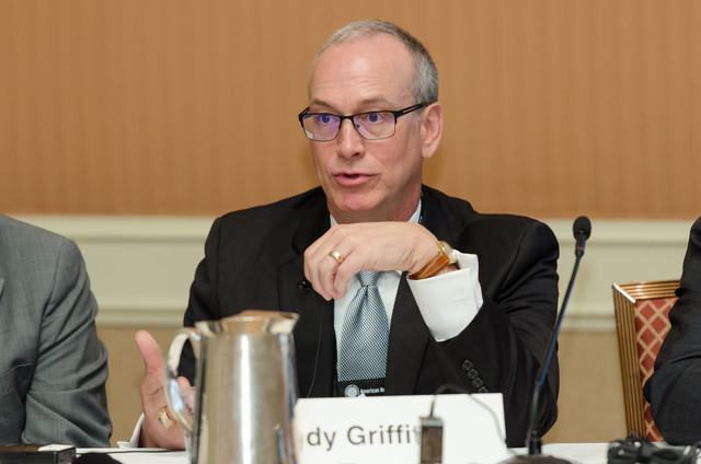 """Andy Griffith, deputy assistant secretary for spent fuel and waste disposition at the Department of Energy speaks during the panel titled """"Yucca Mountain - Is there a pulse?"""" Courtesy of the Ameri ..."""