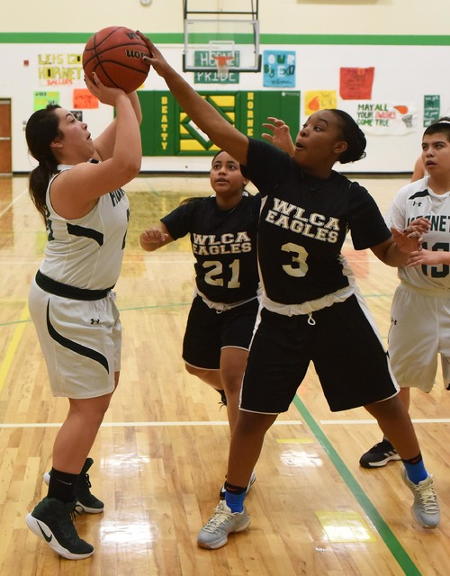 Ariana Oseguera getting blocked during the quarterfinal playoff game against Word of Life on Wednesday. The Hornets travel to Sunrise Mountain High on Friday to play Round Mountain in a semifinal  ...