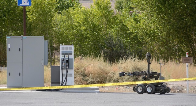 A robot was used to investigate the suspicious suitcase found at an electric car charging station near Eddie World Gasoline in Beatty. The luggage was deemed to not contain a bomb. Richard Stephen ...