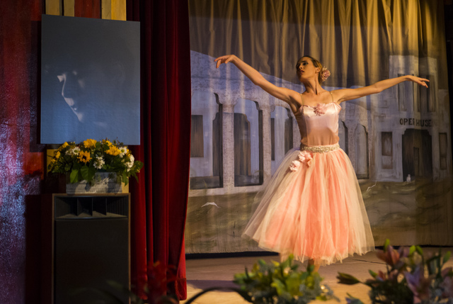 Hilda Vazquez performs during a celebration of life for Marta Becket at the Amargosa Opera House, which she started in the 1960s, in Death Valley Junction, Calif. on Friday, Feb. 10, 2017. Becket  ...