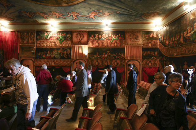 People arrive for a celebration of life for Marta Becket at the Amargosa Opera House, which she started in the 1960s, in Death Valley Junction, Calif. on Friday, Feb. 10, 2017. Becket passed away  ...
