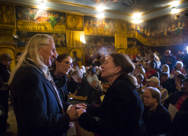 Hank Humphreys, from left, Christine Fossemalle and Lothian Toland Skelton, all longtime friends of Marta Becket, during a celebration of life for Becket at the Amargosa Opera House, which she sta ...