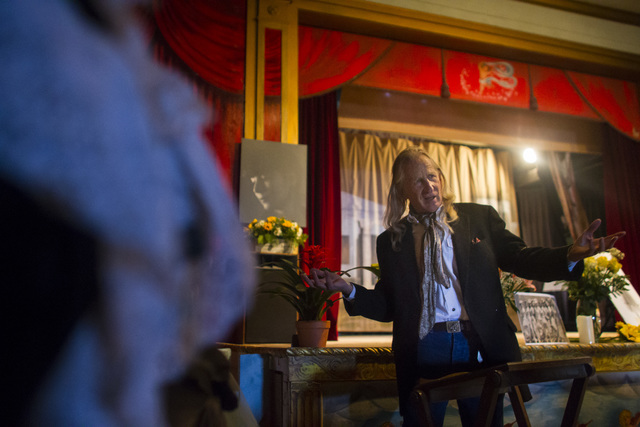 Hank Humphreys, a longtime friend of Marta Becket, speaks during a celebration of her life at the Amargosa Opera House, which she started in the 1960s, in Death Valley Junction, Calif. on Friday,  ...
