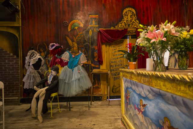 Performance costumes and items on display following a celebration of life for Marta Becket at the Amargosa Opera House, which she started in the 1960s, in Death Valley Junction, Calif. on Friday,  ...
