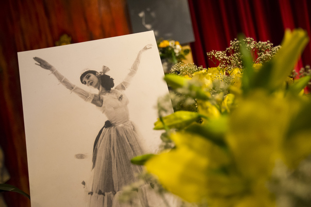 A photo of Marta Becket in the lobby of the Amargosa Opera House following a celebration of her life in Death Valley Junction, Calif. on Friday, Feb. 10, 2017. Becket passed away on Jan. 30 at age ...