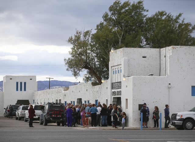 People line up to enter the Amargosa Opera House for a celebration of the life of Marta Becket in Death Valley Junction, Calif. on Friday, Feb. 10, 2017. Becket passed away on Jan. 30 at age 92. ( ...