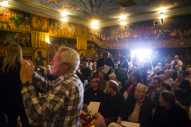 People take their seats for a celebration of life for Marta Becket at the Amargosa Opera House, which she started in the 1960s, in Death Valley Junction, Calif. on Friday, Feb. 10, 2017. Becket pa ...