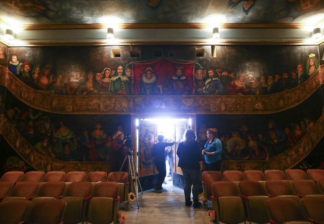 The doors are opened for a celebration of life for Marta Becket at the Amargosa Opera House, which she started in the 1960s, in Death Valley Junction, Calif. on Friday, Feb. 10, 2017. Becket passe ...