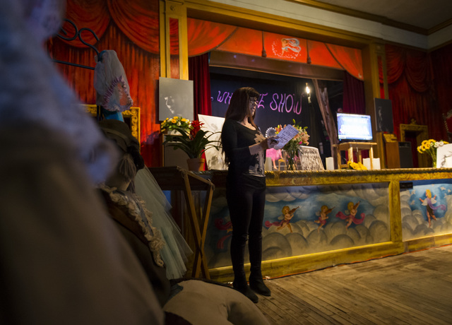 Rhonda Shade speaks during a celebration of life for Marta Becket at the Amargosa Opera House, which she started in the 1960s, in Death Valley Junction, Calif. on Friday, Feb. 10, 2017. Becket pas ...