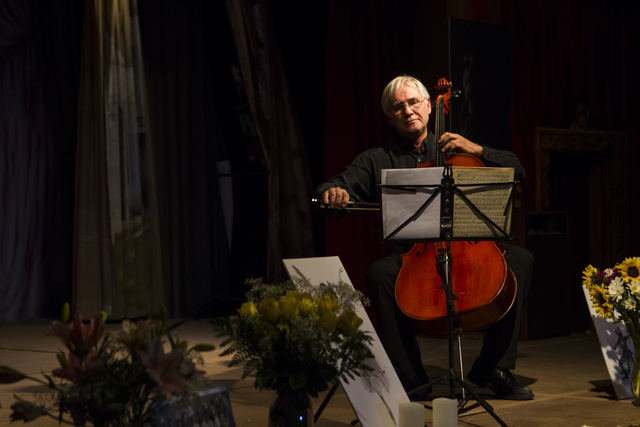 Michael McLane performs during a celebration of life for Marta Becket at the Amargosa Opera House, which she started in the 1960s, in Death Valley Junction, Calif. on Friday, Feb. 10, 2017. Becket ...