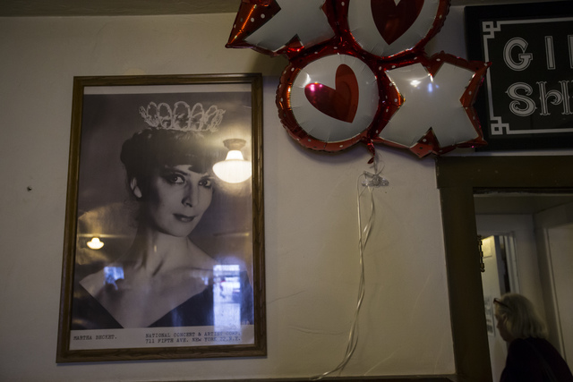 A photo of Marta Becket in the lobby of the Amargosa Opera House and Hotel following a celebration of her life in Death Valley Junction, Calif. on Friday, Feb. 10, 2017. Becket passed away on Jan. ...