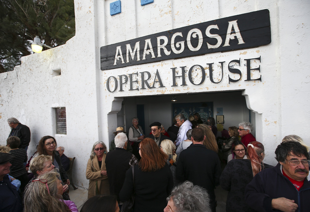 People line up to enter the Amargosa Opera House for a celebration of the life of Marta Becket in Death Valley Junction, Calif. on Friday, Feb. 10, 2017. Becket passed away on Jan. 30 at age 92. C ...