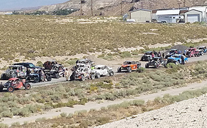David Jacobs / Pahrump Valley Times   Cars and trucks line up at the start line for day two of the 650-mile race Vegas to Reno race. This year was a special two-stage race, celebrating their 20th  ...