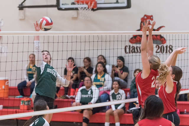 Skylar Stephens / Special to the Pahrump Valley Times Cluadia Granados spikes the ball against Beaver Dam. She had seven kills against Sandy Valley last week to help the team win.