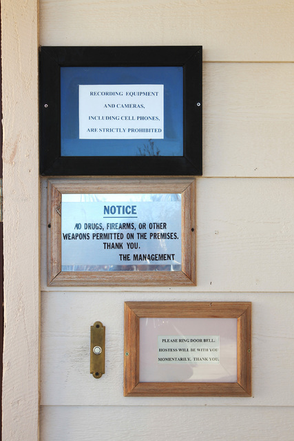 Signs direct customers at Sheri's Ranch brothel outside Pahrump in 2014. The Nye County effort to upade its brothel codes has been delayed until February.  Sam Morris/Special to the Pahrump Valley ...