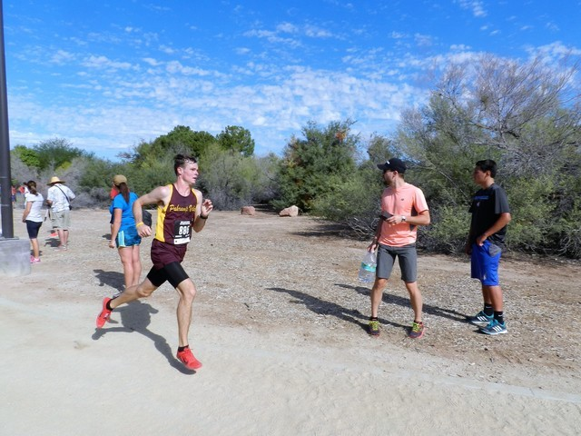Tammi Odegard / Special to the Pahrump Valley Times Junior Trojans boys cross-country runner Bryce Odegard runs in the Larry Burgess Invitational at Sunset Park in Las Vegas on Saturday Morning. T ...