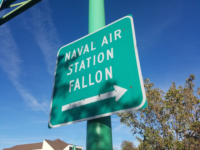 A sign as shown in this Oct. 6 photo points to Naval Air Station Fallon where its training range may expand into Nye County. Congress is to make the decision ultimately. David Jacobs/Times-Bonanza ...