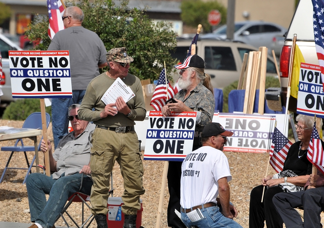 Horace Langford Jr. / Pahrump Valley Times Opponents of State Ballot Question 1 have made several claims about the exceptions written into the universal background check measure that include polic ...