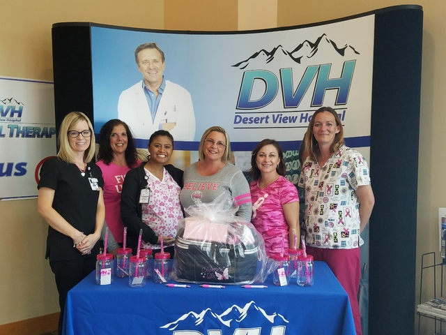 Members of Desert View Hospital's imaging team pose with the tumblers and the gift basket women who are screen are eligible to receive. Through October, DVH is offering $75 mammograms.  Special to ...