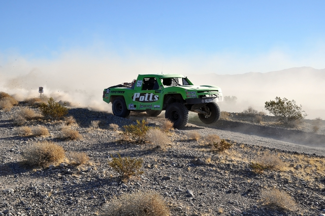 Horace Langford Jr. / Pahrump Valley Times - Cole Potts trick truck enters pit one on Saturday. Potts is the youngest off-road racer at this event at 17-years old. He missed the time trials becaus ...