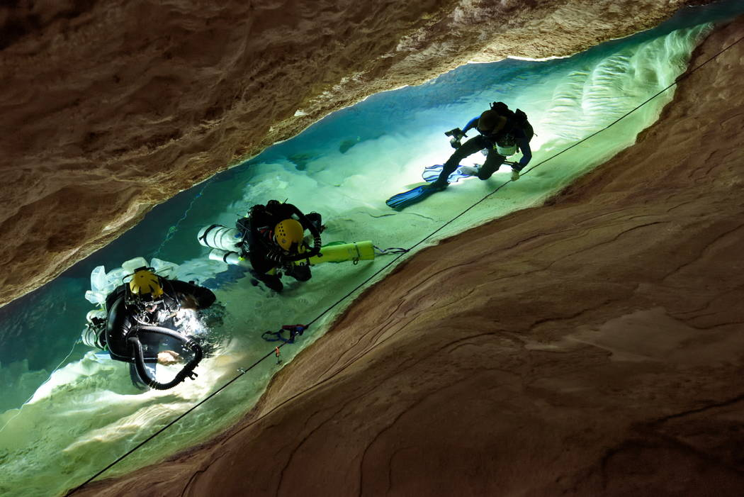 Scientists from the University of Minnesota and University of Innsbruck in Austria, accompanied by a group of divers and a film crew, descended into Devil's Hole No. 2 where they collected sampl ...