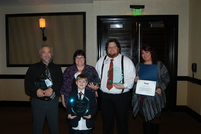 From left to right: Vern Hee, sports editor of the Pahrump Valley Times; Tracie Ward, Nye County School District trustee; Robin Williams, teacher Pahrump Valley High School and Kelly Wood, Nye Cou ...