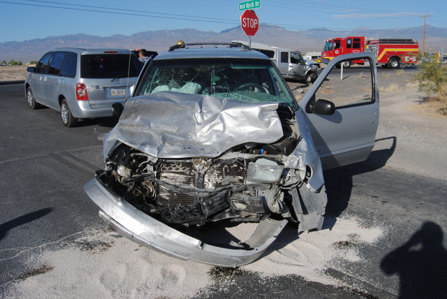 Special to the Pahrump Valley Times   Three people were air lifted to UMC Trauma in Las Vegas after a head-on collision along Highway 372 at Red Rock Drive Monday afternoon. A child was ejected fr ...