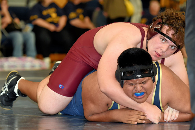 Peter Davis / Special to the Pahrump Valley Times  Jacob Landis (285 pounds) takes on a La Costa Canyon (California) wrestler. Landis went 4-1 during the Boulder City Duals.