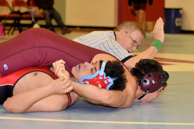 Garrett Monje pins his opponent at Western. Monje wrestles with his brother Christian and both should be wrestling tonight against Sunrise Mountain.  Peter Davis / Special to the Pahrump Valley Times