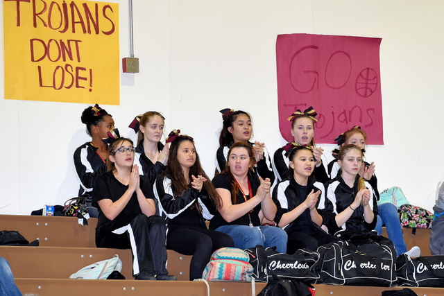Peter Davis / Special to the Pahrump Valley Times Pahrump Valley High School cheerleaders at the Mojave wrestling dual. If you haven't gone to a Trojans wrestling match, put it on your to-do lis ...
