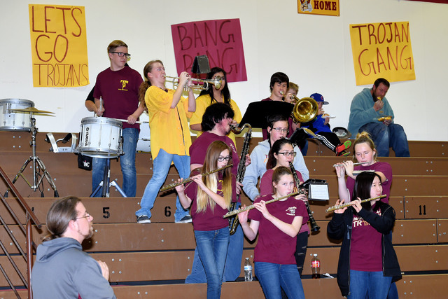 Peter Davis / Special to the Pahrump Valley Times The Trojans pep band plays at the Mojave wrestling meet, which was the last one of the season.