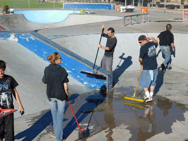 Special to the Pahrump Valley Times Dedicated volunteers showed up to give the skate park a much needed face lift before the Light in the Dark Pumpkin Festival on Oct. 29.