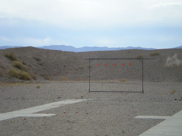 A view of one of the toughest shots at the shoot was the pistol shoot at 30 yards.  Vern Hee / Pahrump Valley Times