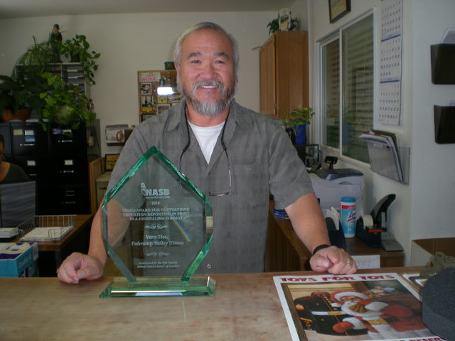 Nevada Association of School Boards honored Times sports editor Vern Hee with the Media Award of the Year for Outstanding Education Reporting in Print Journalism.  Mick Akers/Pahrump Valley Times