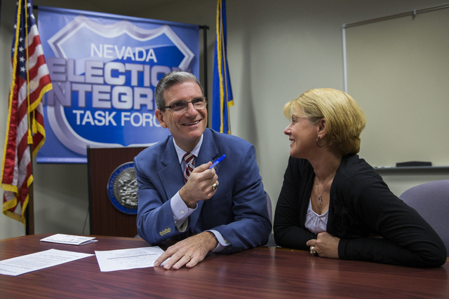 U.S. Representative Joe Heck, Republican, Nevada with wife Lisa, files to run for the Senate seat of outgoing U.S. Senator Harry Reid at the Grant Sawyer Building Monday, March 14, 2016 in Las Veg ...